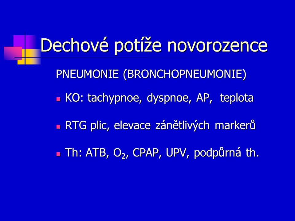 Dechové potíže novorozence PNEUMONIE (BRONCHOPNEUMONIE) KO: tachypnoe, dyspnoe, AP, teplota KO: tachypnoe, dyspnoe, AP, teplota RTG plic, elevace záně