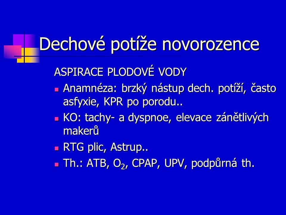 Dechové potíže novorozence ASPIRACE PLODOVÉ VODY Anamnéza: brzký nástup dech. potíží, často asfyxie, KPR po porodu.. Anamnéza: brzký nástup dech. potí