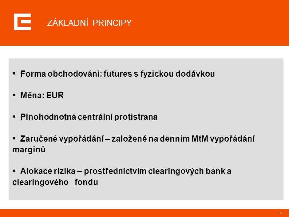 4 ZÁKLADNÍ PRINCIPY Forma obchodování: futures s fyzickou dodávkou Měna: EUR Plnohodnotná centrální protistrana Zaručené vypořádání – založené na denním MtM vypořádání marginů Alokace rizika – prostřednictvím clearingových bank a clearingového fondu
