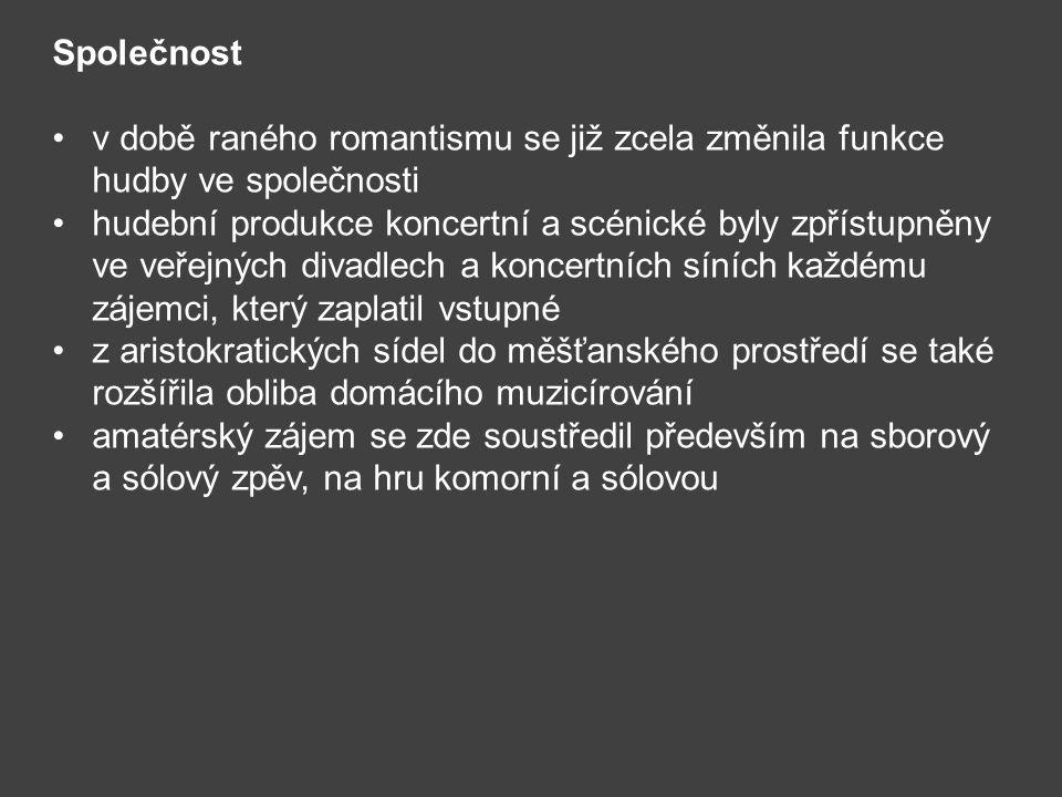 Společnost v době raného romantismu se již zcela změnila funkce hudby ve společnosti hudební produkce koncertní a scénické byly zpřístupněny ve veřejn