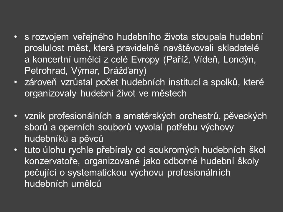 s rozvojem veřejného hudebního života stoupala hudební proslulost měst, která pravidelně navštěvovali skladatelé a koncertní umělci z celé Evropy (Pař