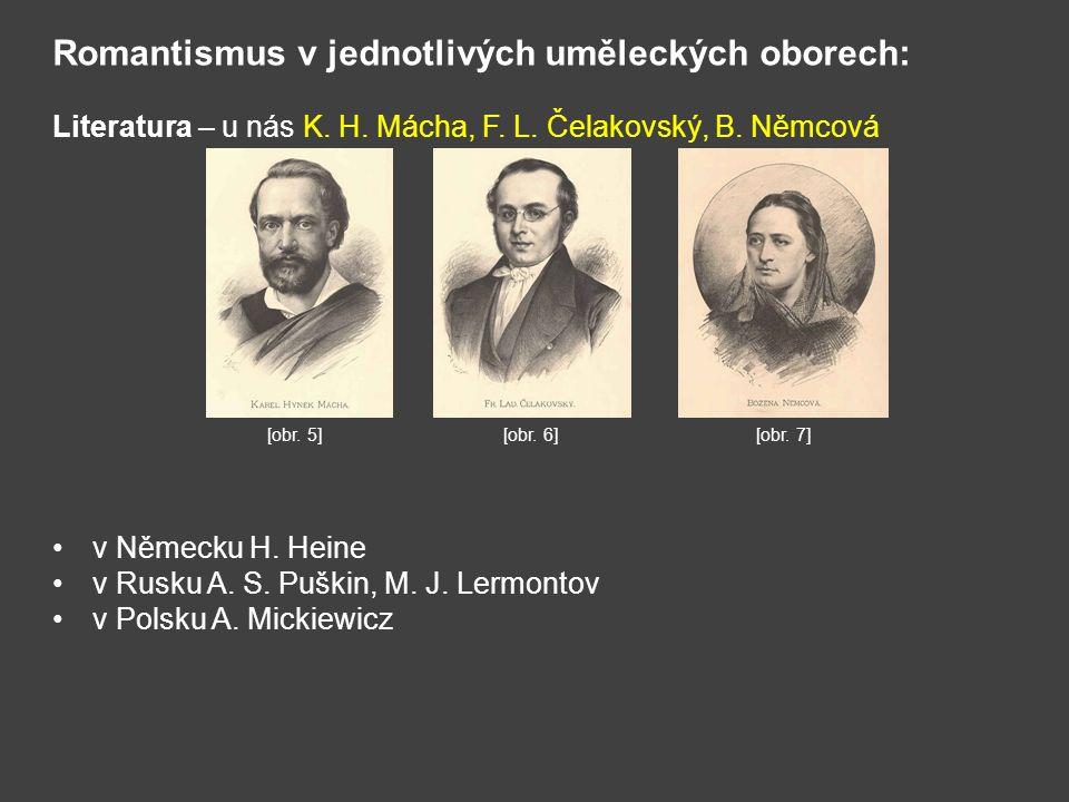 Romantismus v jednotlivých uměleckých oborech: Literatura – u nás K. H. Mácha, F. L. Čelakovský, B. Němcová v Německu H. Heine v Rusku A. S. Puškin, M