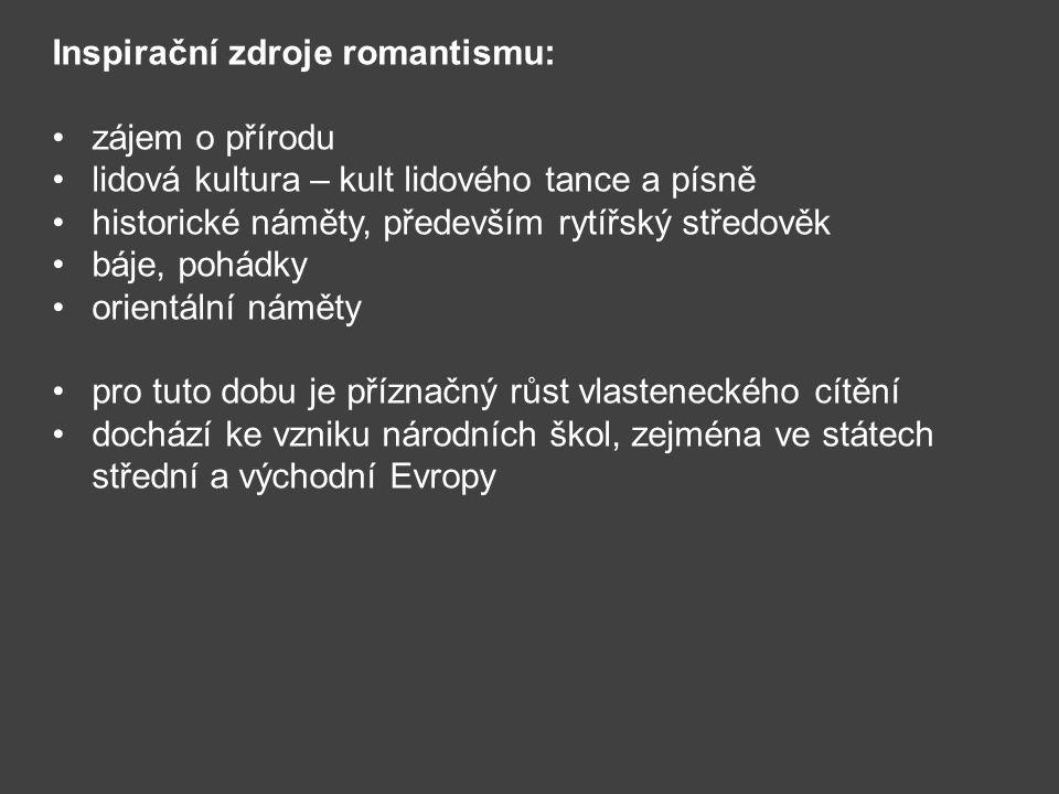 Rozdělení romantismu: Raný vzniká v Německu, typický je vznik menších forem a) starší větev romantiků – C.
