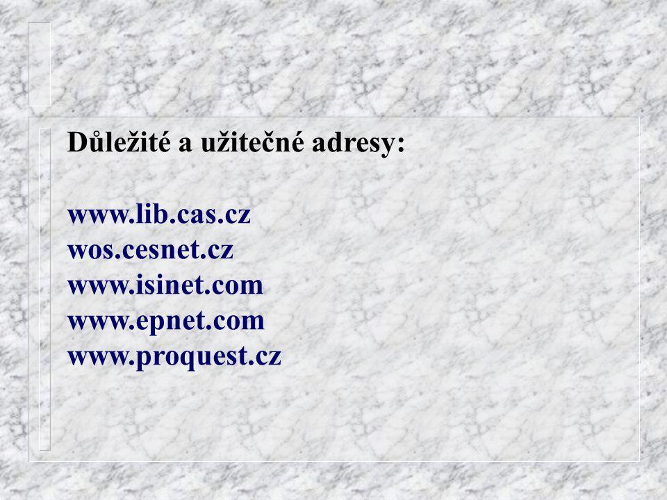 Důležité a užitečné adresy: www.lib.cas.cz wos.cesnet.cz www.isinet.com www.epnet.com www.proquest.cz