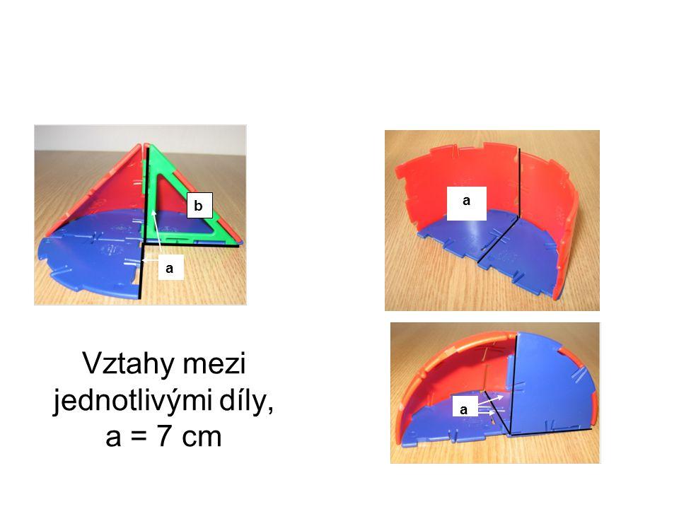 Vztahy mezi jednotlivými díly, a = 7 cm a b a a