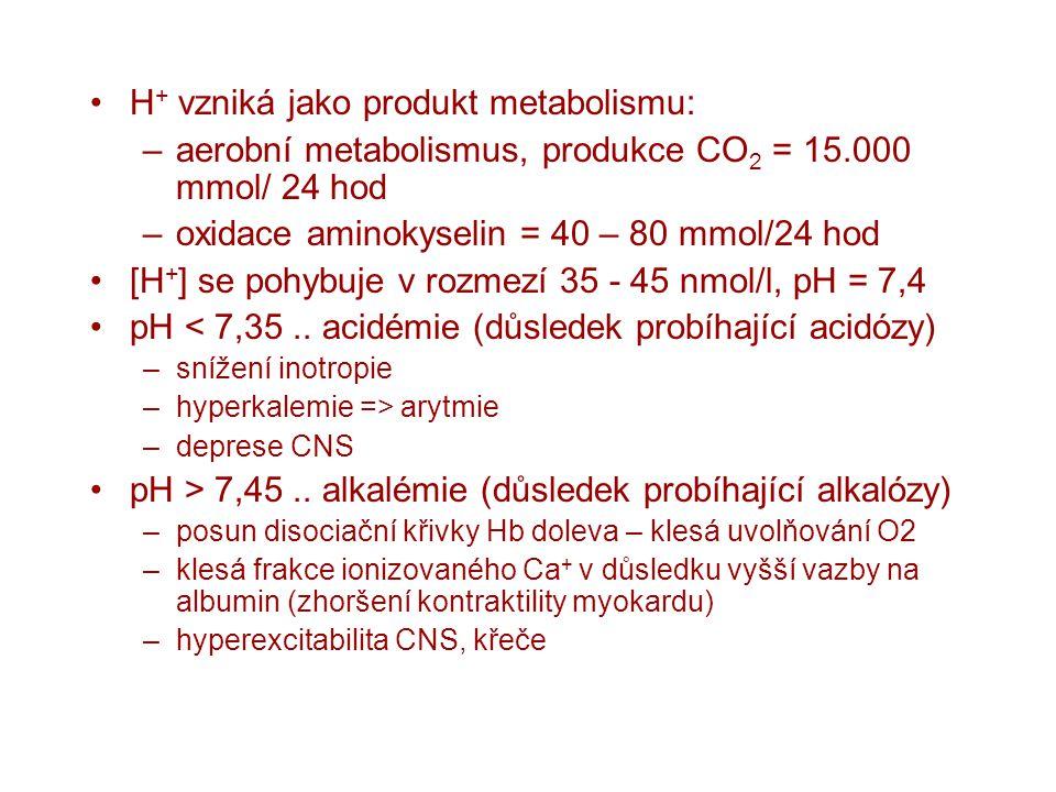 H + vzniká jako produkt metabolismu: –aerobní metabolismus, produkce CO 2 = 15.000 mmol/ 24 hod –oxidace aminokyselin = 40 – 80 mmol/24 hod [H + ] se
