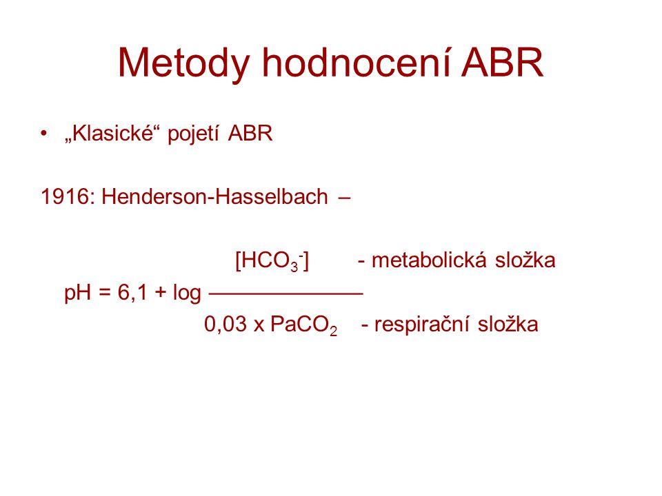 """Metody hodnocení ABR """"Klasické"""" pojetí ABR 1916: Henderson-Hasselbach – [HCO 3 - ] - metabolická složka pH = 6,1 + log ——————— 0,03 x PaCO 2 - respira"""