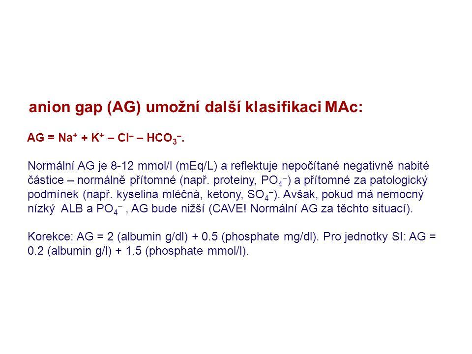 anion gap (AG) umožní další klasifikaci MAc: AG = Na + + K + – Cl – – HCO 3 –. Normální AG je 8-12 mmol/l (mEq/L) a reflektuje nepočítané negativně na