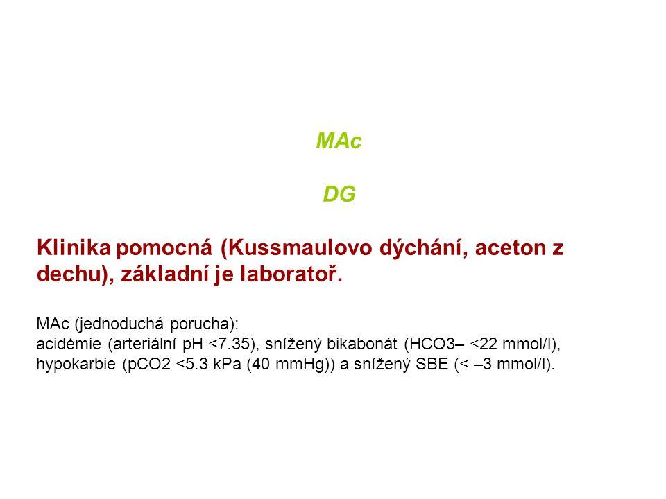 MAc DG Klinika pomocná (Kussmaulovo dýchání, aceton z dechu), základní je laboratoř. MAc (jednoduchá porucha): acidémie (arteriální pH <7.35), snížený
