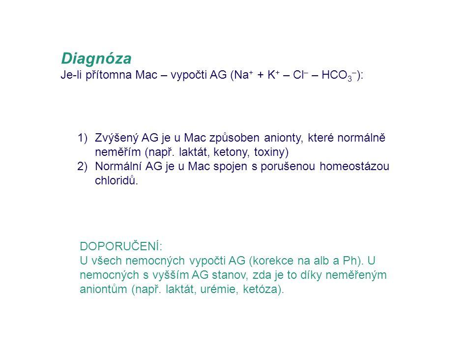 Diagnóza Je-li přítomna Mac – vypočti AG (Na + + K + – Cl – – HCO 3 – ): DOPORUČENÍ: U všech nemocných vypočti AG (korekce na alb a Ph). U nemocných s