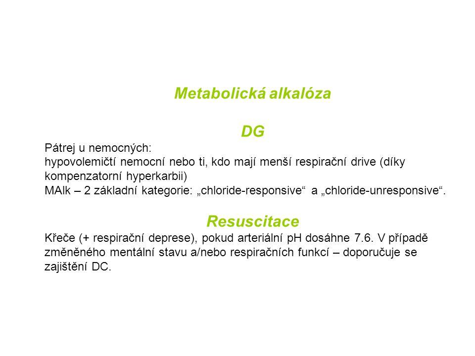 Metabolická alkalóza DG Pátrej u nemocných: hypovolemičtí nemocní nebo ti, kdo mají menší respirační drive (díky kompenzatorní hyperkarbii) MAlk – 2 z