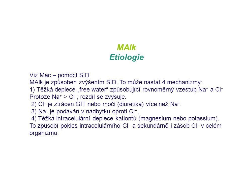 """MAlk Etiologie Viz Mac – pomocí SID MAlk je způsoben zvýšením SID. To může nastat 4 mechanizmy: 1) Těžká deplece """"free water"""" způsobující rovnoměrný v"""