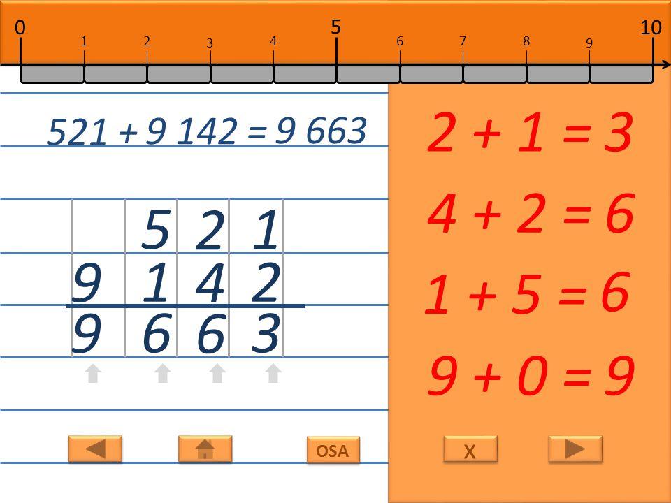 x x OSA 1 2 3 2 + 1 =3 2 4 6 4 + 2 =6 5 1 6 1 + 5 = 6 9 9 9 + 0 =9 521 + 9 142 = 9 663 10 5 0 678 9 12 3 4