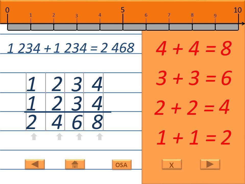 x x 4 4 8 4 + 4 =8 3 3 6 3 + 3 =6 2 2 4 2 + 2 = 4 1 1 2 1 + 1 =2 1 234 + 1 234 = 2 468 10 5 0 678 9 12 3 4