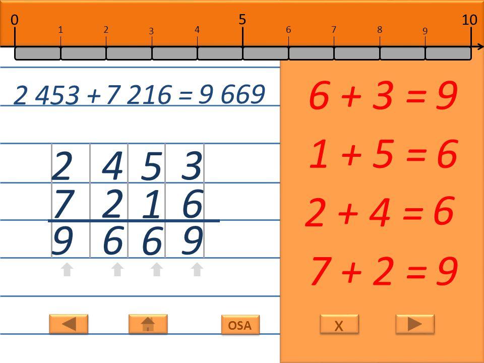x x OSA 8 1 9 1 + 8 =9 5 2 7 2 + 5 =7 0 9 9 9 + 0 = 9 3 6 9 6 + 3 =9 3 058 + 6 921 = 9 979 10 5 0 678 9 12 3 4