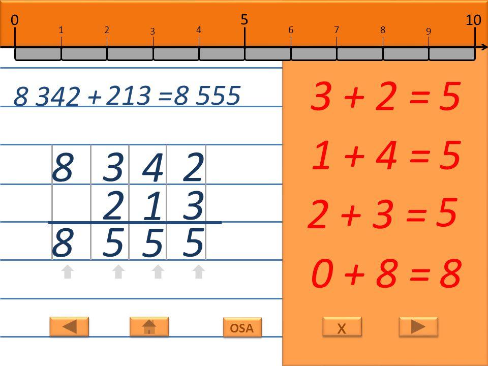 x x OSA 2 3 5 3 + 2 =5 4 1 5 1 + 4 =5 3 2 5 2 + 3 = 5 8 8 0 + 8 =8 8 342 + 213 =8 555 10 5 0 678 9 12 3 4