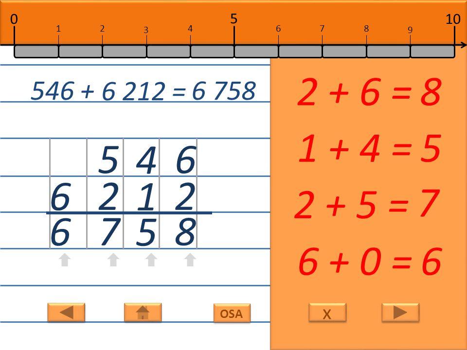 x x OSA 6 1 7 1 + 6 =7 4 2 6 2 + 4 =6 0 8 8 8 + 0 = 8 3 3 0 + 3 =3 3 046 + 821 = 3 867 10 5 0 678 9 12 3 4
