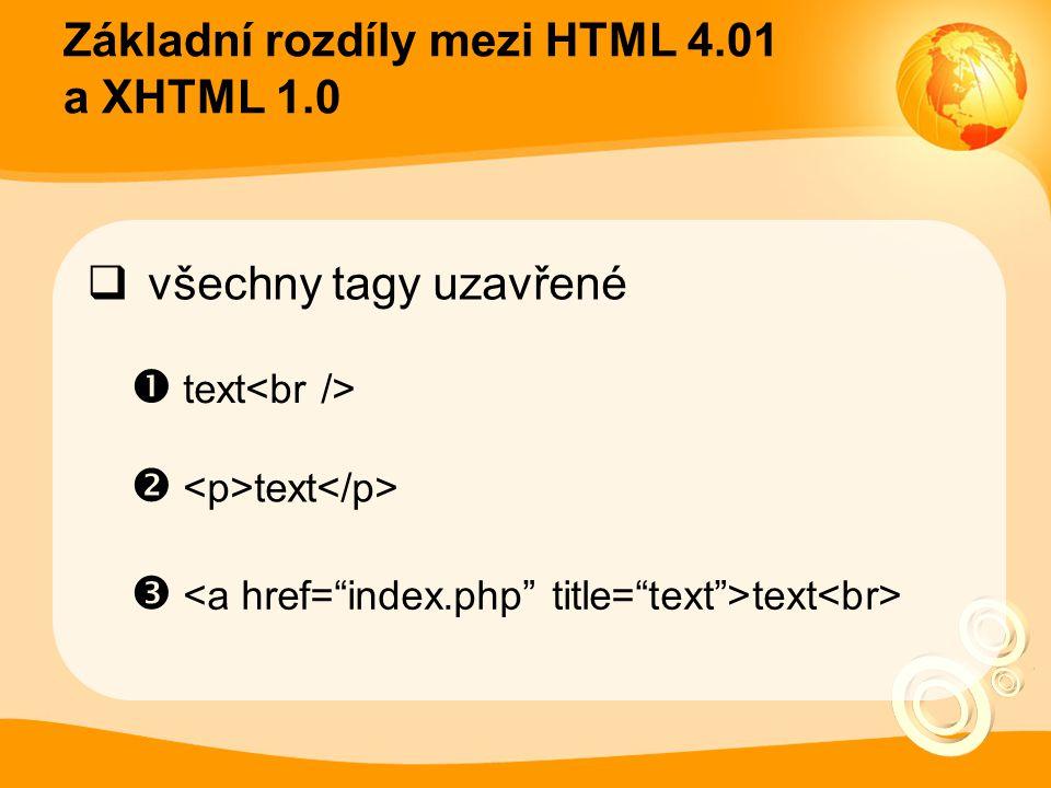 """Základní rozdíly mezi HTML 4.01 a XHTML 1.0  všechny tagy uzavřené  text<br />  <p>text</p>  <a href=""""index.php"""" title=""""text"""">text<br>"""