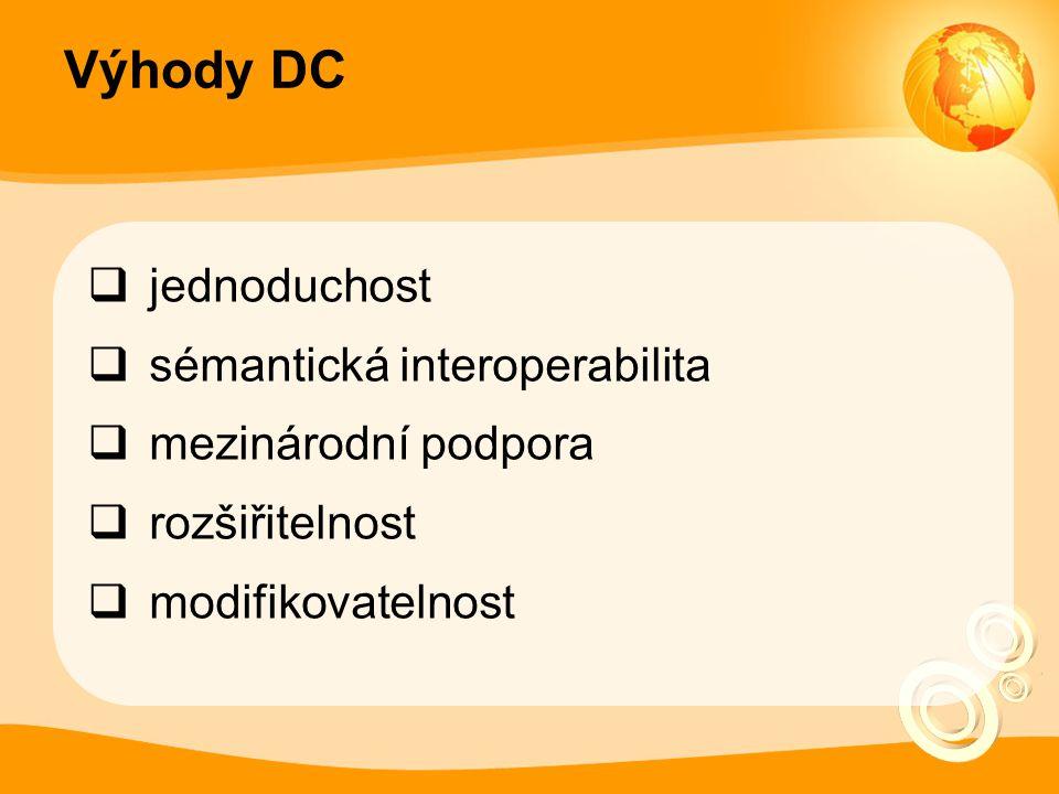 Výhody DC  jednoduchost  sémantická interoperabilita  mezinárodní podpora  rozšiřitelnost  modifikovatelnost
