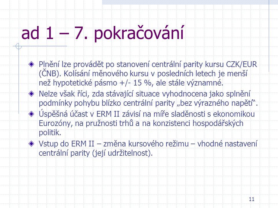 11 ad 1 – 7. pokračování Plnění lze provádět po stanovení centrální parity kursu CZK/EUR (ČNB).