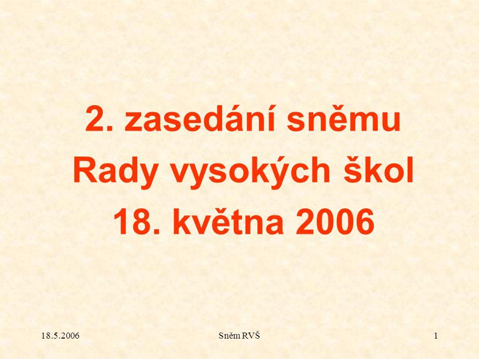 18.5.2006Sněm RVŠ1 2. zasedání sněmu Rady vysokých škol 18. května 2006