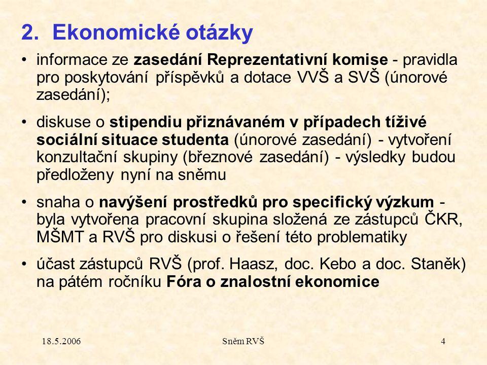 18.5.2006Sněm RVŠ4 informace ze zasedání Reprezentativní komise - pravidla pro poskytování příspěvků a dotace VVŠ a SVŠ (únorové zasedání); diskuse o stipendiu přiznávaném v případech tíživé sociální situace studenta (únorové zasedání) - vytvoření konzultační skupiny (březnové zasedání) - výsledky budou předloženy nyní na sněmu snaha o navýšení prostředků pro specifický výzkum - byla vytvořena pracovní skupina složená ze zástupců ČKR, MŠMT a RVŠ pro diskusi o řešení této problematiky účast zástupců RVŠ (prof.