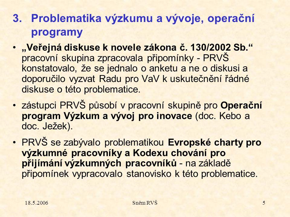"""18.5.2006Sněm RVŠ5 """"Veřejná diskuse k novele zákona č."""