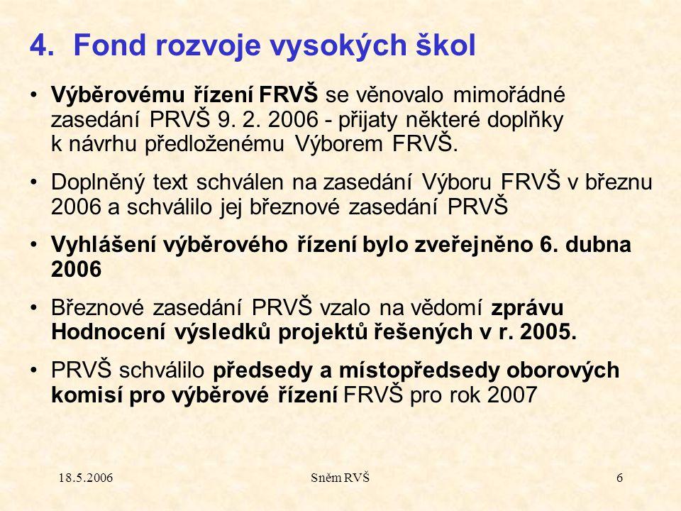 18.5.2006Sněm RVŠ6 Výběrovému řízení FRVŠ se věnovalo mimořádné zasedání PRVŠ 9.
