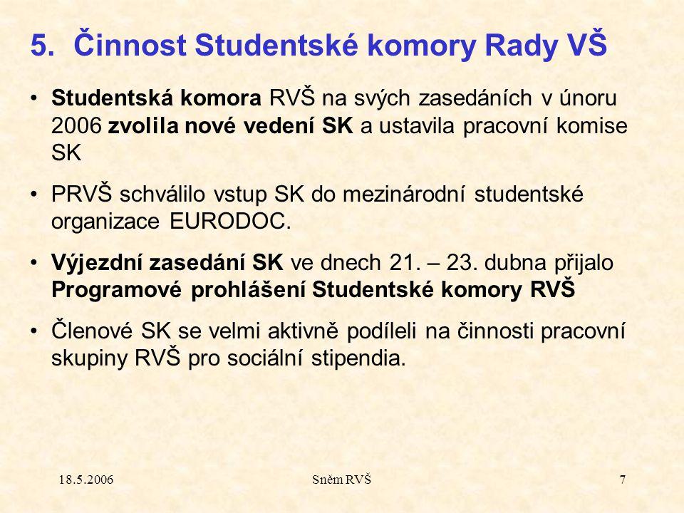 18.5.2006Sněm RVŠ7 Studentská komora RVŠ na svých zasedáních v únoru 2006 zvolila nové vedení SK a ustavila pracovní komise SK PRVŠ schválilo vstup SK do mezinárodní studentské organizace EURODOC.