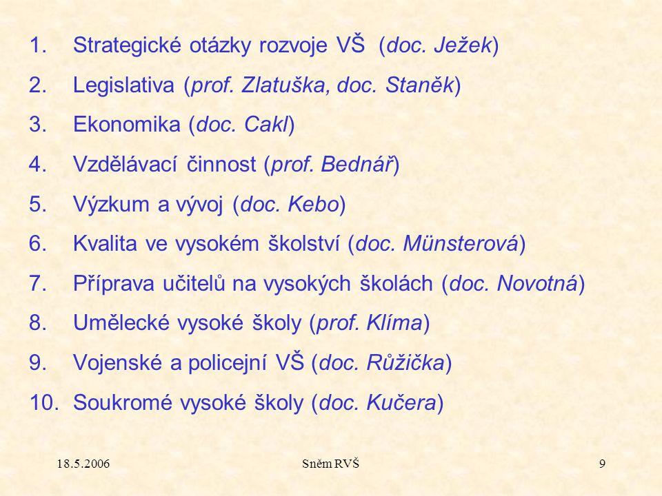 18.5.2006Sněm RVŠ9 1.Strategické otázky rozvoje VŠ (doc.