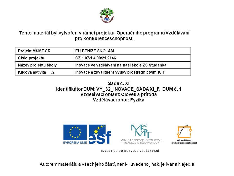 Autorem materiálu a všech jeho částí, není-li uvedeno jinak, je Ivana Nejedlá Tento materiál byl vytvořen v rámci projektu Operačního programu Vzdělávání pro konkurenceschopnost.