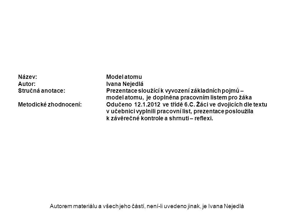 MODEL ATOMU Autorem materiálu a všech jeho částí, není-li uvedeno jinak, je Ivana Nejedlá