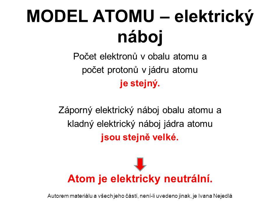 MODEL ATOMU – elektrický náboj Počet elektronů v obalu atomu a počet protonů v jádru atomu je stejný. Záporný elektrický náboj obalu atomu a kladný el