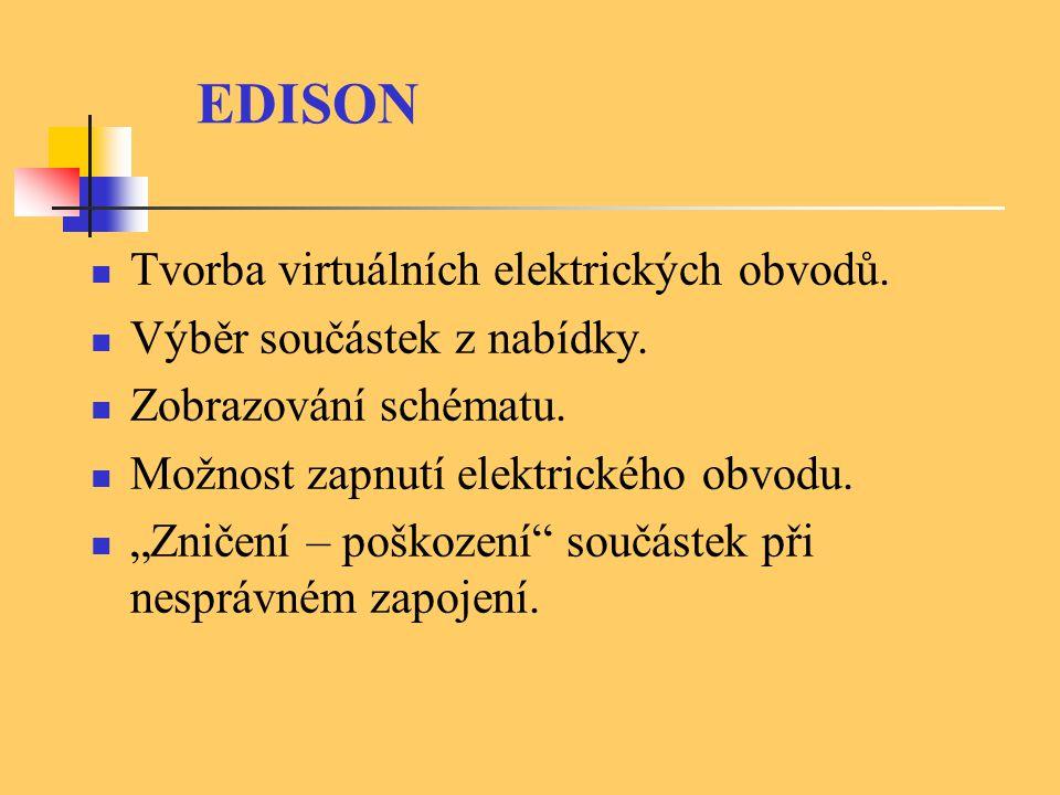 Tvorba virtuálních elektrických obvodů. Výběr součástek z nabídky.