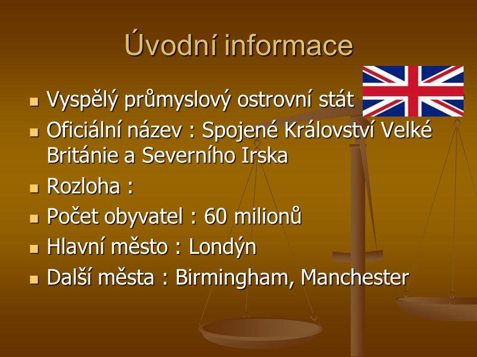 Úvodní informace Vyspělý průmyslový ostrovní stát Vyspělý průmyslový ostrovní stát Oficiální název : Spojené Království Velké Británie a Severního Irs