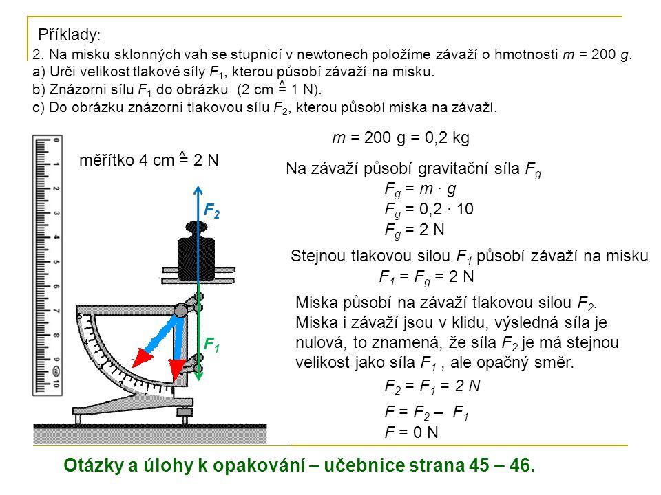 2. Na misku sklonných vah se stupnicí v newtonech položíme závaží o hmotnosti m = 200 g. a) Urči velikost tlakové síly F 1, kterou působí závaží na mi