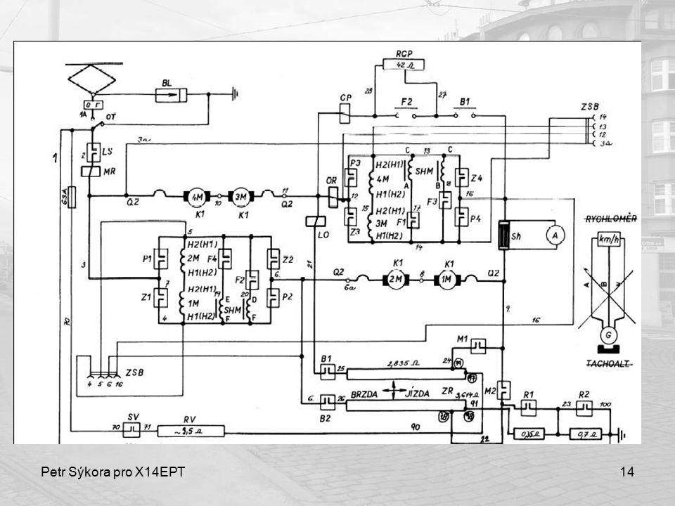 Petr Sýkora pro X14EPT15 Zrychlovač ~ mnohastupňový rozjezdový/brzdný odporník s poloautomatickým řízením Pohon pomocí pilotmotoru – 5 hodnot proudu pro jízdu i brzdu – omezovací relé OR udržuje proud na zvolené hodnotě pomocí zapínání/vypínání pilotmotoru 75 stupňů rozjezd, 100 stupňů brzda http://www.youtube.com/watch?v=kwORKj AKnwkhttp://www.youtube.com/watch?v=kwORKj AKnwk