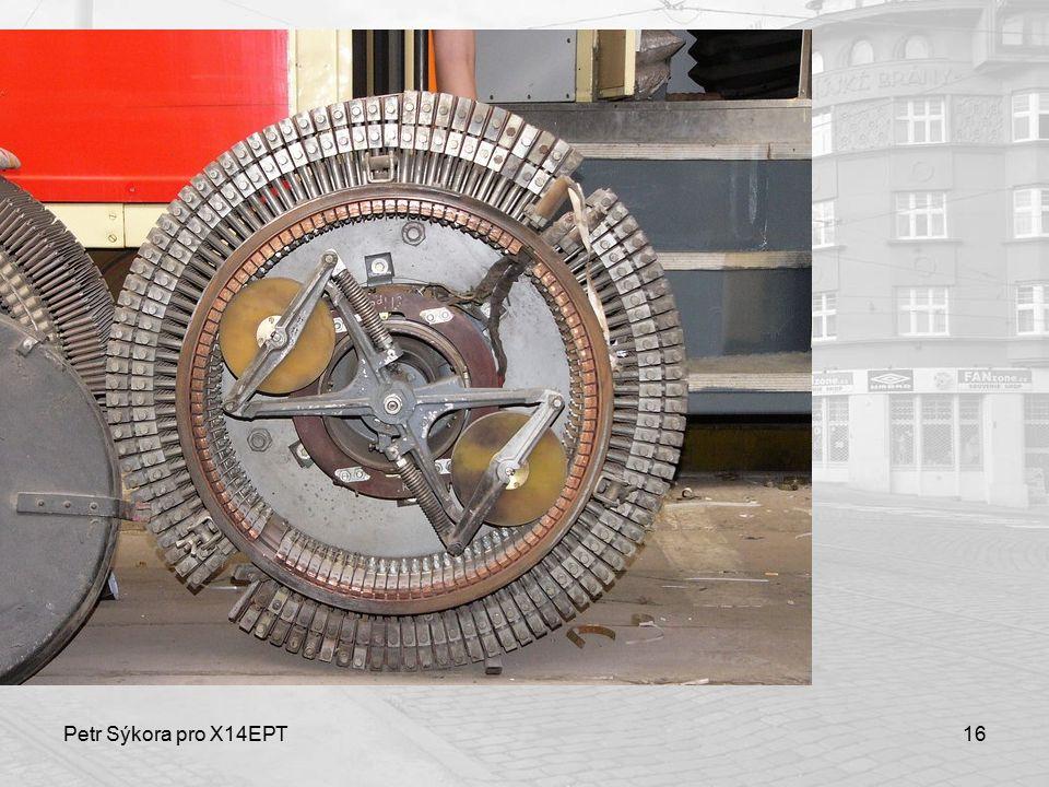 Petr Sýkora pro X14EPT17 Trakční motor Stejnosměrný sériový čtyřpólový motor s cizí ventilací P n 40/44 kW trvale/hodinově U n 600 V N n 1750 ot/min I n 150 A