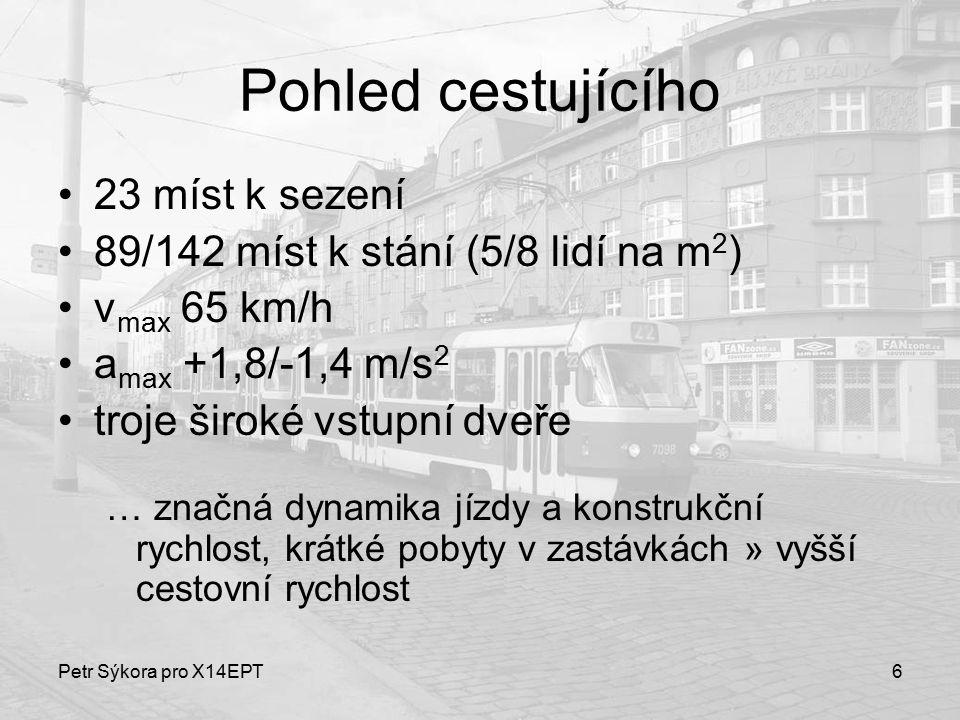 Petr Sýkora pro X14EPT6 Pohled cestujícího 23 míst k sezení 89/142 míst k stání (5/8 lidí na m 2 ) v max 65 km/h a max +1,8/-1,4 m/s 2 troje široké vs