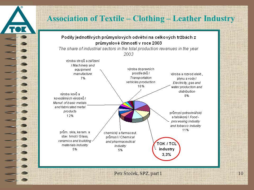 Petr Štoček, SPZ, part 110 Association of Textile – Clothing – Leather Industry