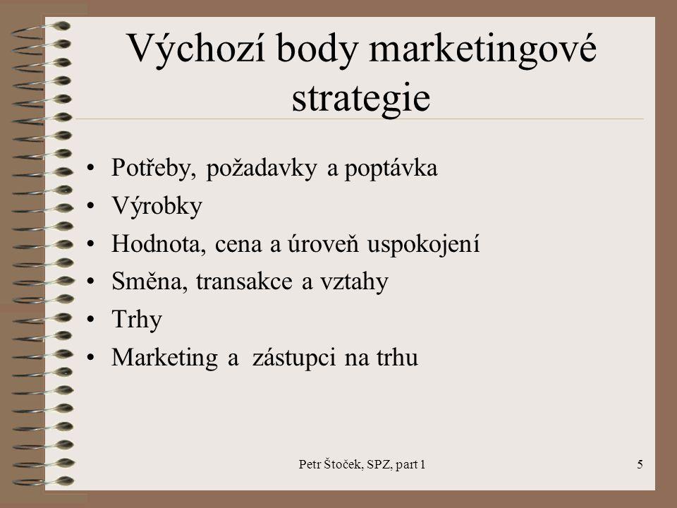 Petr Štoček, SPZ, part 15 Výchozí body marketingové strategie Potřeby, požadavky a poptávka Výrobky Hodnota, cena a úroveň uspokojení Směna, transakce a vztahy Trhy Marketing a zástupci na trhu