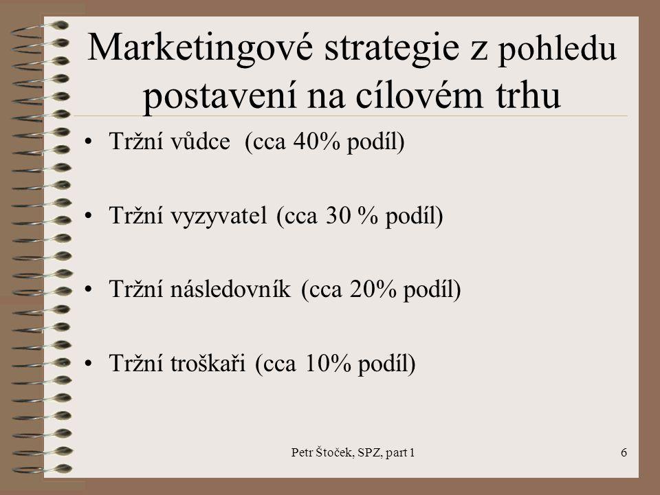 Petr Štoček, SPZ, part 16 Marketingové strategie z pohledu postavení na cílovém trhu Tržní vůdce (cca 40% podíl) Tržní vyzyvatel (cca 30 % podíl) Tržní následovník (cca 20% podíl) Tržní troškaři (cca 10% podíl)