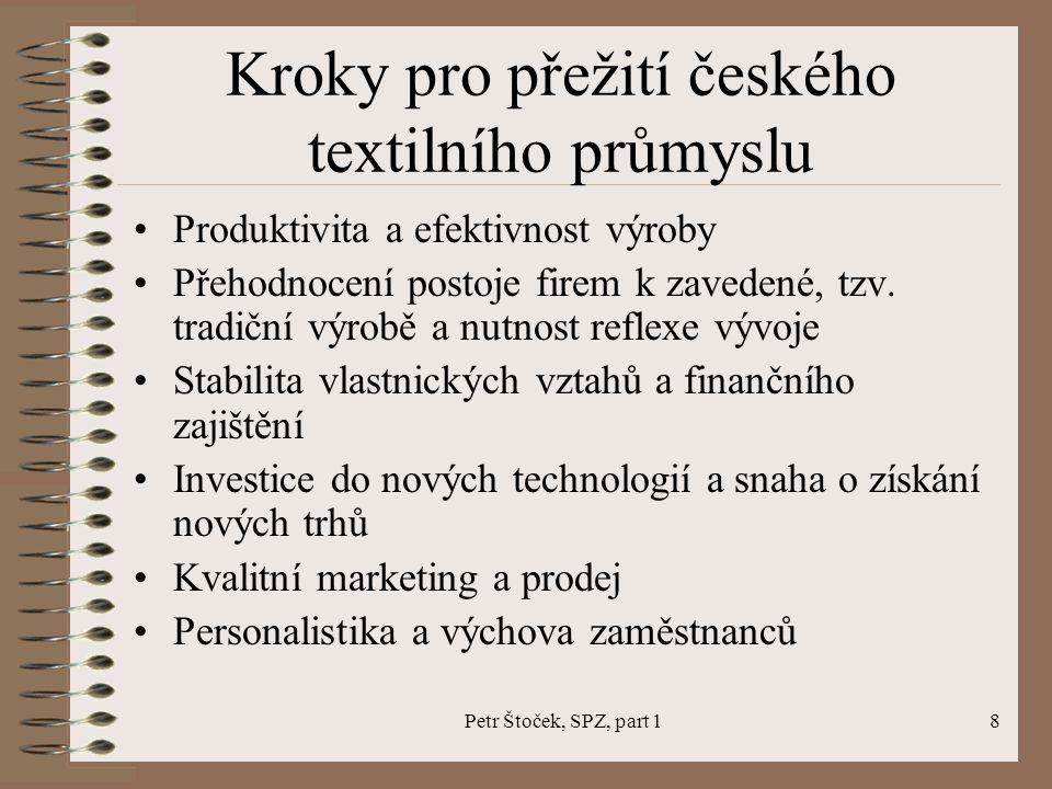 Petr Štoček, SPZ, part 18 Kroky pro přežití českého textilního průmyslu Produktivita a efektivnost výroby Přehodnocení postoje firem k zavedené, tzv.