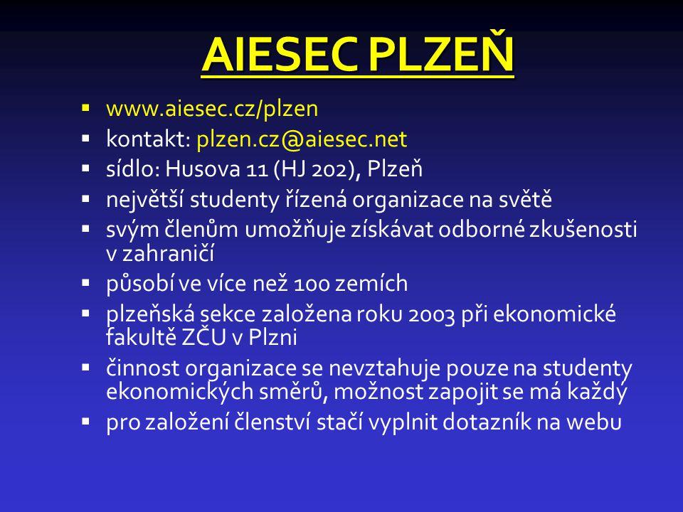 AIESEC PLZEŇ  www.aiesec.cz/plzen  kontakt: plzen.cz@aiesec.net  sídlo: Husova 11 (HJ 202), Plzeň  největší studenty řízená organizace na světě  svým členům umožňuje získávat odborné zkušenosti v zahraničí  působí ve více než 100 zemích  plzeňská sekce založena roku 2003 při ekonomické fakultě ZČU v Plzni  činnost organizace se nevztahuje pouze na studenty ekonomických směrů, možnost zapojit se má každý  pro založení členství stačí vyplnit dotazník na webu