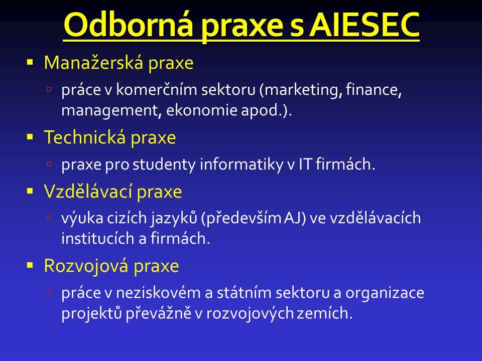 Odborná praxe s AIESEC  Manažerská praxe  práce v komerčním sektoru (marketing, finance, management, ekonomie apod.).