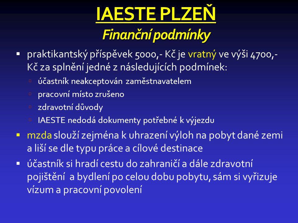 IAESTE PLZEŇ Finanční podmínky  praktikantský příspěvek 5000,- Kč je vratný ve výši 4700,- Kč za splnění jedné z následujících podmínek:  účastník neakceptován zaměstnavatelem  pracovní místo zrušeno  zdravotní důvody  IAESTE nedodá dokumenty potřebné k výjezdu  mzda slouží zejména k uhrazení výloh na pobyt dané zemi a liší se dle typu práce a cílové destinace  účastník si hradí cestu do zahraničí a dále zdravotní pojištění a bydlení po celou dobu pobytu, sám si vyřizuje vízum a pracovní povolení