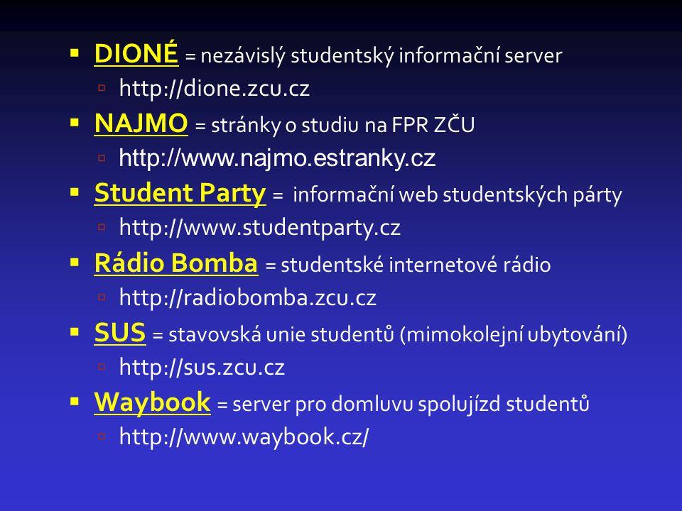  DIONÉ = nezávislý studentský informační server  http://dione.zcu.cz  NAJMO = stránky o studiu na FPR ZČU  http://www.najmo.estranky.cz  Student Party = informační web studentských párty  http://www.studentparty.cz  Rádio Bomba = studentské internetové rádio  http://radiobomba.zcu.cz  SUS = stavovská unie studentů (mimokolejní ubytování)  http://sus.zcu.cz  Waybook = server pro domluvu spolujízd studentů  http://www.waybook.cz/