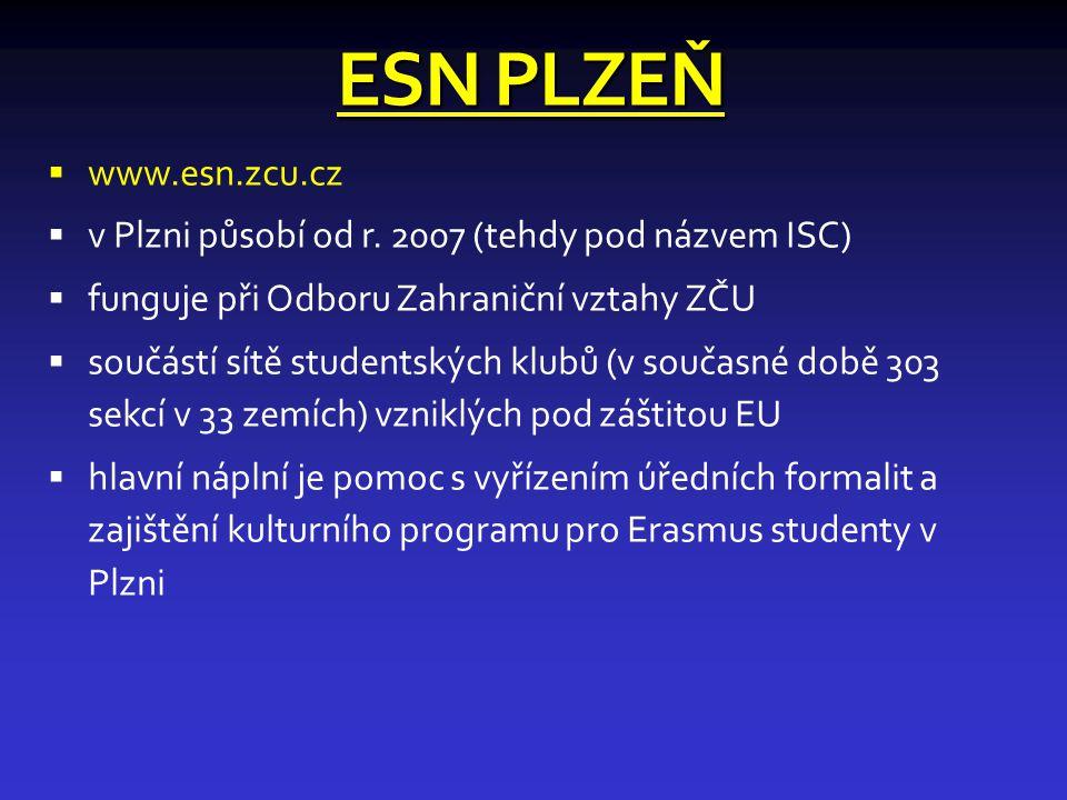 ESN PLZEŇ  www.esn.zcu.cz  v Plzni působí od r.