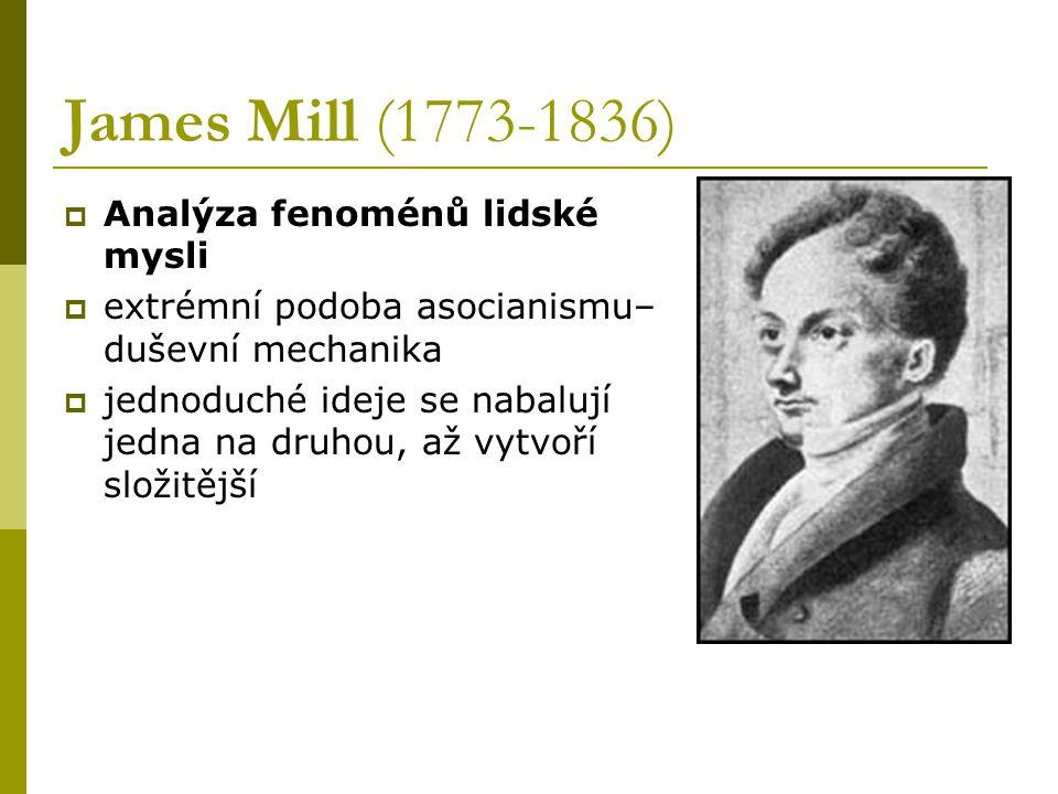 James Mill (1773-1836)  Analýza fenoménů lidské mysli  extrémní podoba asocianismu– duševní mechanika  jednoduché ideje se nabalují jedna na druhou, až vytvoří složitější