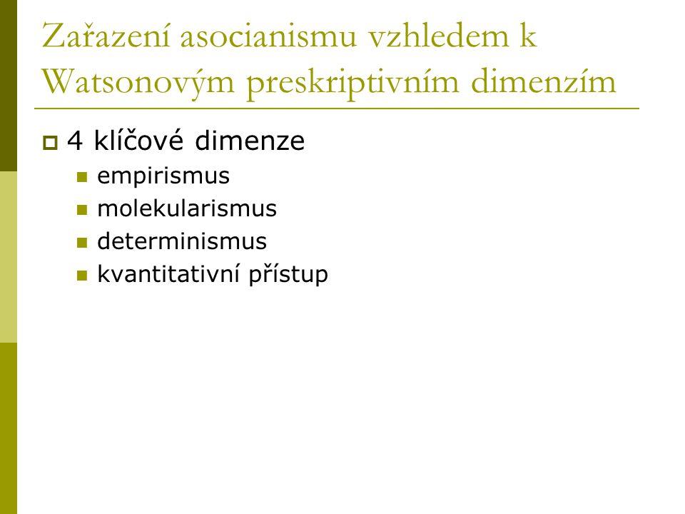 Zařazení asocianismu vzhledem k Watsonovým preskriptivním dimenzím  4 klíčové dimenze empirismus molekularismus determinismus kvantitativní přístup